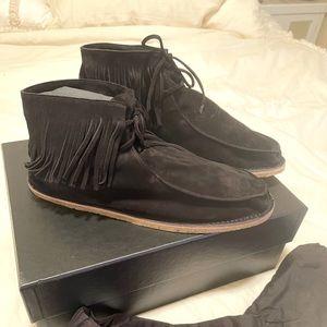 Men's Saint Laurent Black Suede Fringed Shoes